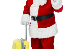 santa claus with travel bag holding