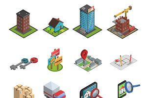 Real estate icon isometric set