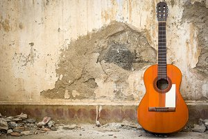 guitar in a ruined