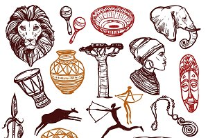 Africa doodle icons set