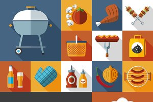 Barbeque picnic flat icons set