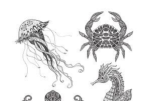 Sea animals doodle icons set