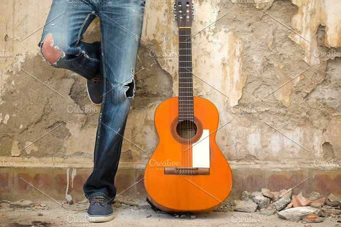 man with guitar. urban style - People