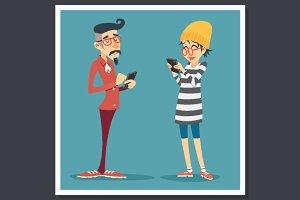 Vintage Hipster Online Mobile Chat
