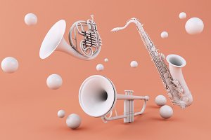 3d White musical instruments