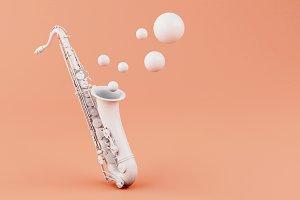 3d White saxophone