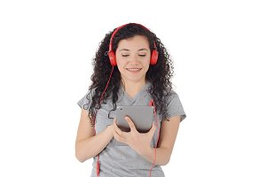 Young woman listening to music with