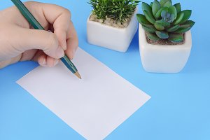 Woman hands writing on blank  paper
