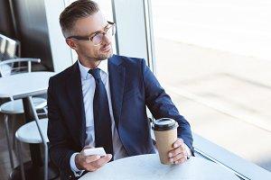 adult handsome businessman in glasse