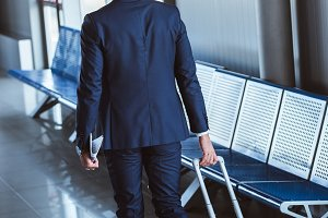 back view of businessman with travel