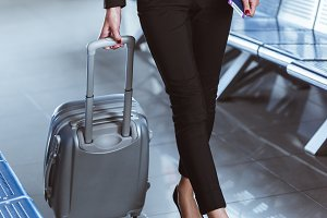 close up of y businesswoman walking
