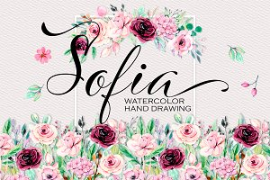 Watercolor flowers, set Sofia.