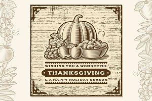 Vintage Thanksgiving Card Brown
