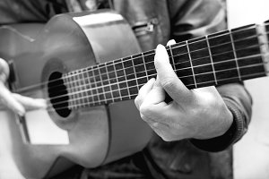 man with guitar. Black and white