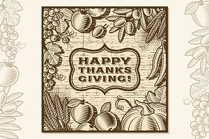 Thanksgiving Retro Card Brown