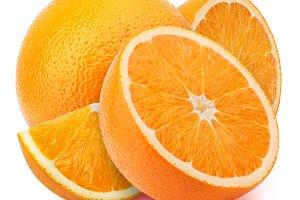 Orange with slices isolated on white