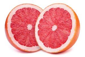 Halfs of grapefruits isolated
