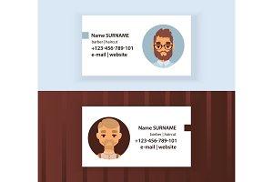 Hipster Barber Shop Business Card