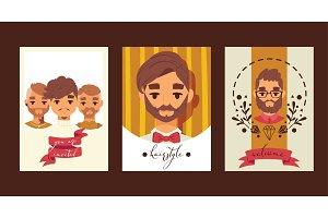 Barber tie men cartoon characters