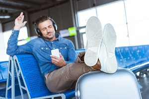Man enjoying the music and relaxing
