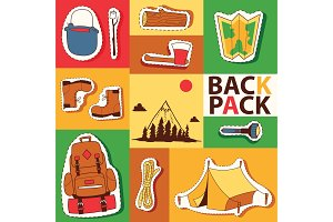 Camping stickers survival