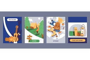 Camping cards set vector