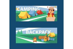 Summer camp banner vector