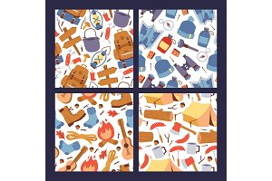 Camping hiking stickers seamless