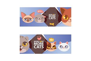 Funny cat faces banner vector