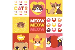 Cats heads vector illustration. Cute
