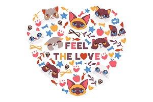 Cute cats in heart shape vector