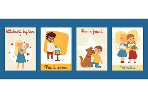 Children with pets friendship cards