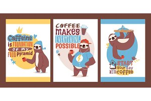 Sloth with cup of coffee set of