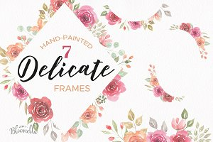 Delicate Watercolor Rose Frames Red
