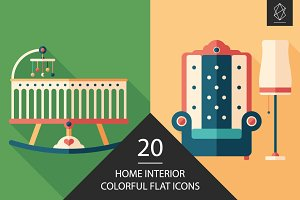 Home interior flat icon set