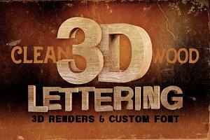 Wood - 3D Lettering + Font