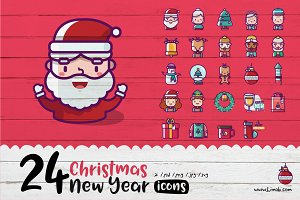 24 Christmas and New Year Icons