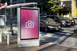 Bus Stop Street Sign Mockup