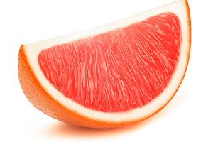 Grapefruit fruit slice isolated on