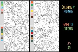Coloring by number, education game