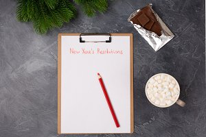 Blank paper with new year's