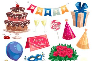 Birthday party decorative icons set
