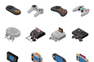 Game gadgets isometric icons