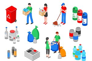 Garbage and recycling images set