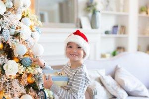 Happy smiling Boy in santa hat