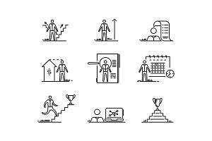 Thin line icons set. Business people