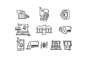 Payment methods thin line icons. Pay