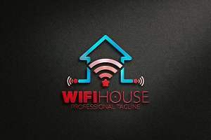 Wifi House Star and Smart Logo
