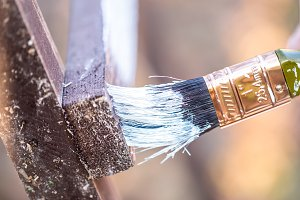 brush with white paint close up