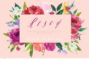 Watercolour Flower Clip Art - Rosey
